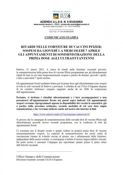 Ritardi Nelle Forniture Di Vaccini Pfizer Comunicato Ulss 6 Euganea Citta Di Vigonza